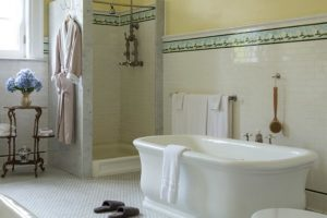 The tub and shower in Prospect View at the Mercersburg Inn