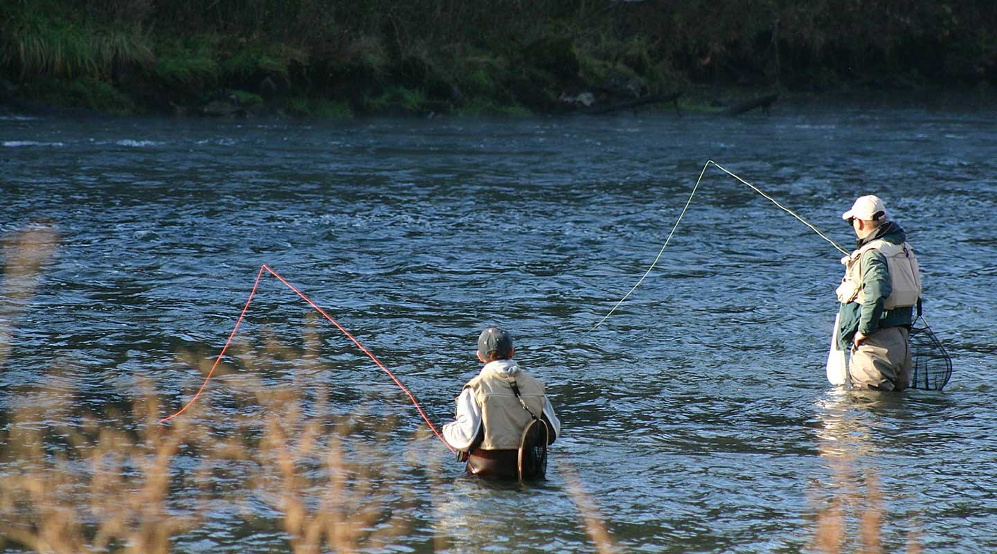 Two fisherman fly fishing in a nearby river in Mercersburg, PA