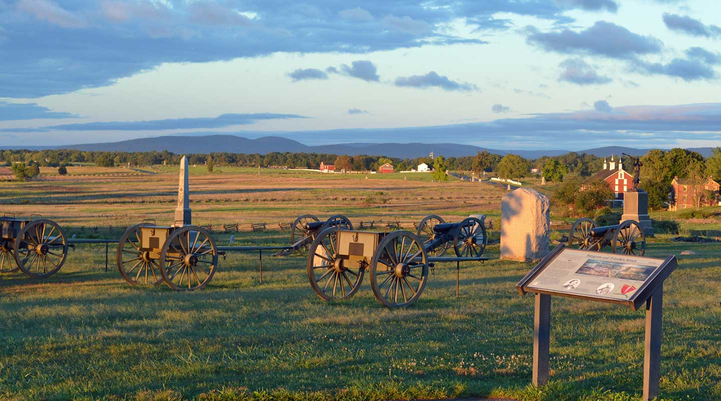 Cannons from the Civil War at a field in Gettysburg