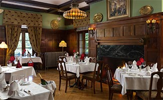The formal dinning room in the main building at the Mercersburg Inn