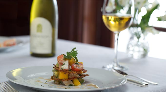 White wine paired with a delicious entree