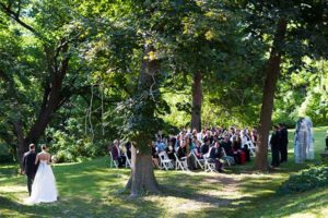 Outside wedding in the beautiful lawn at the Mercersburg Inn