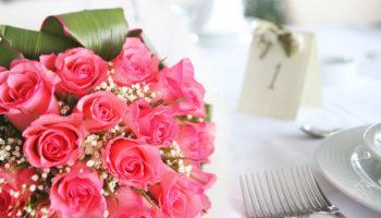 Wedding Bouquet on Table at the Mercersburg Inn