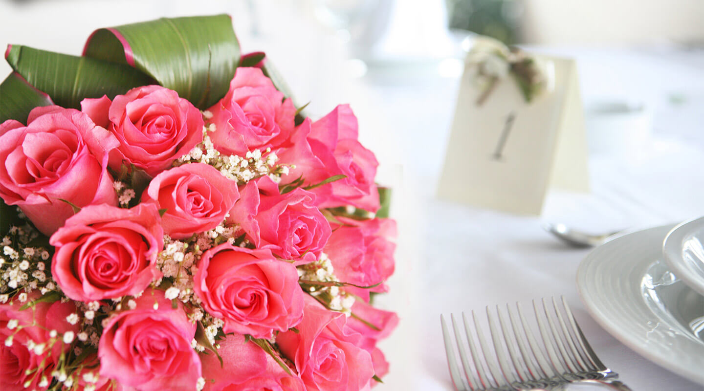 Pink Wedding Bouquet on table