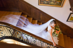 Bride Getting Married on the staircase at the Mercersburg Inn