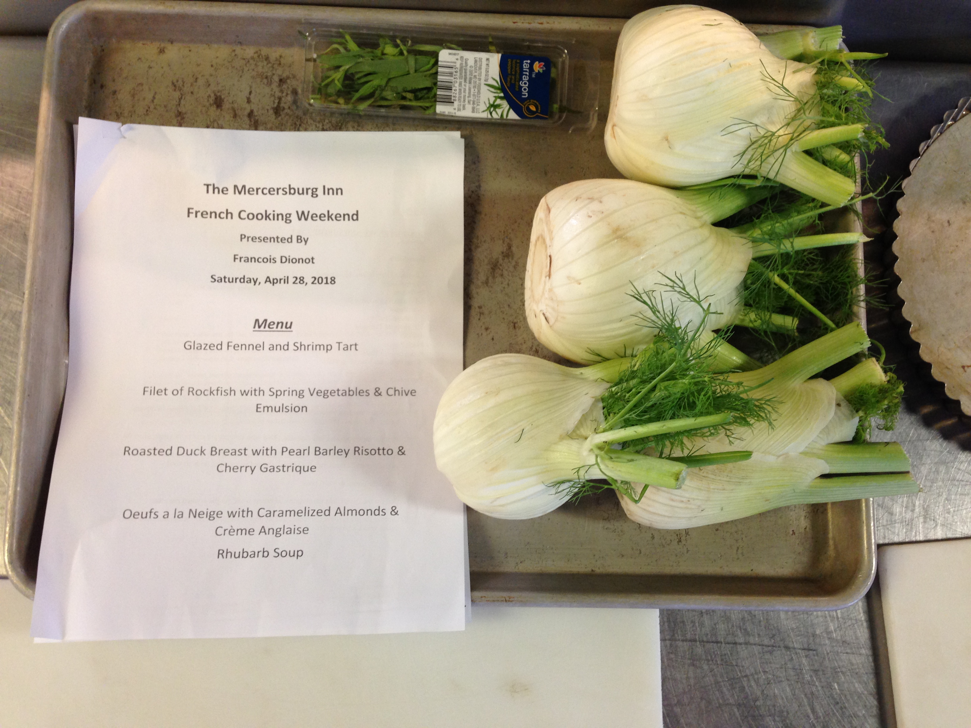 French Cooking Class menu and vegetables