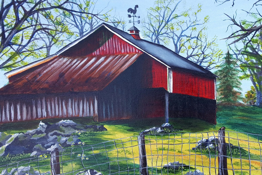 painting of a red barn in a country setting