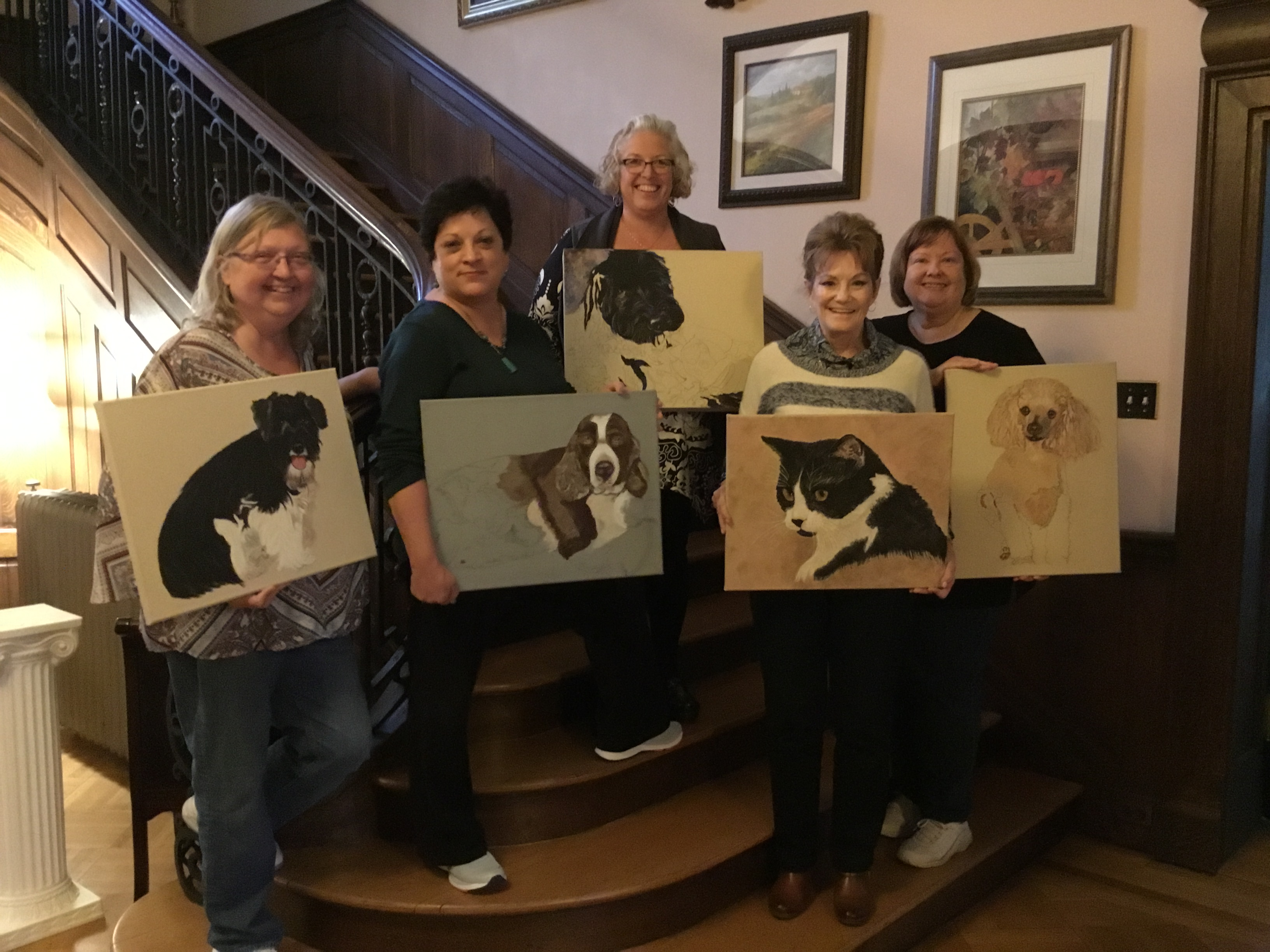 Susan Shaffer and her students in Art Retreat