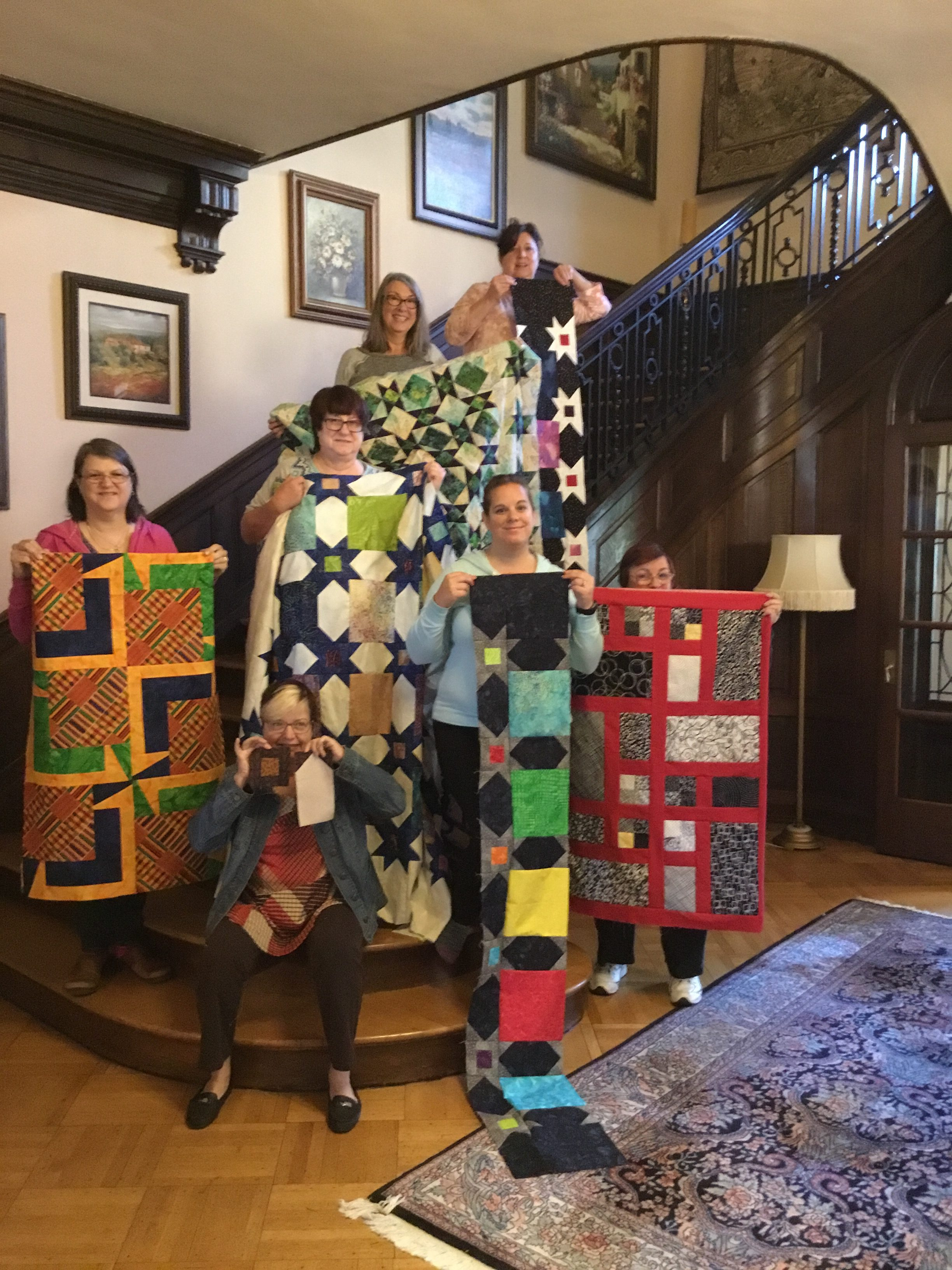 Quilting Weekends on the staircase at the Mercersburg Inn