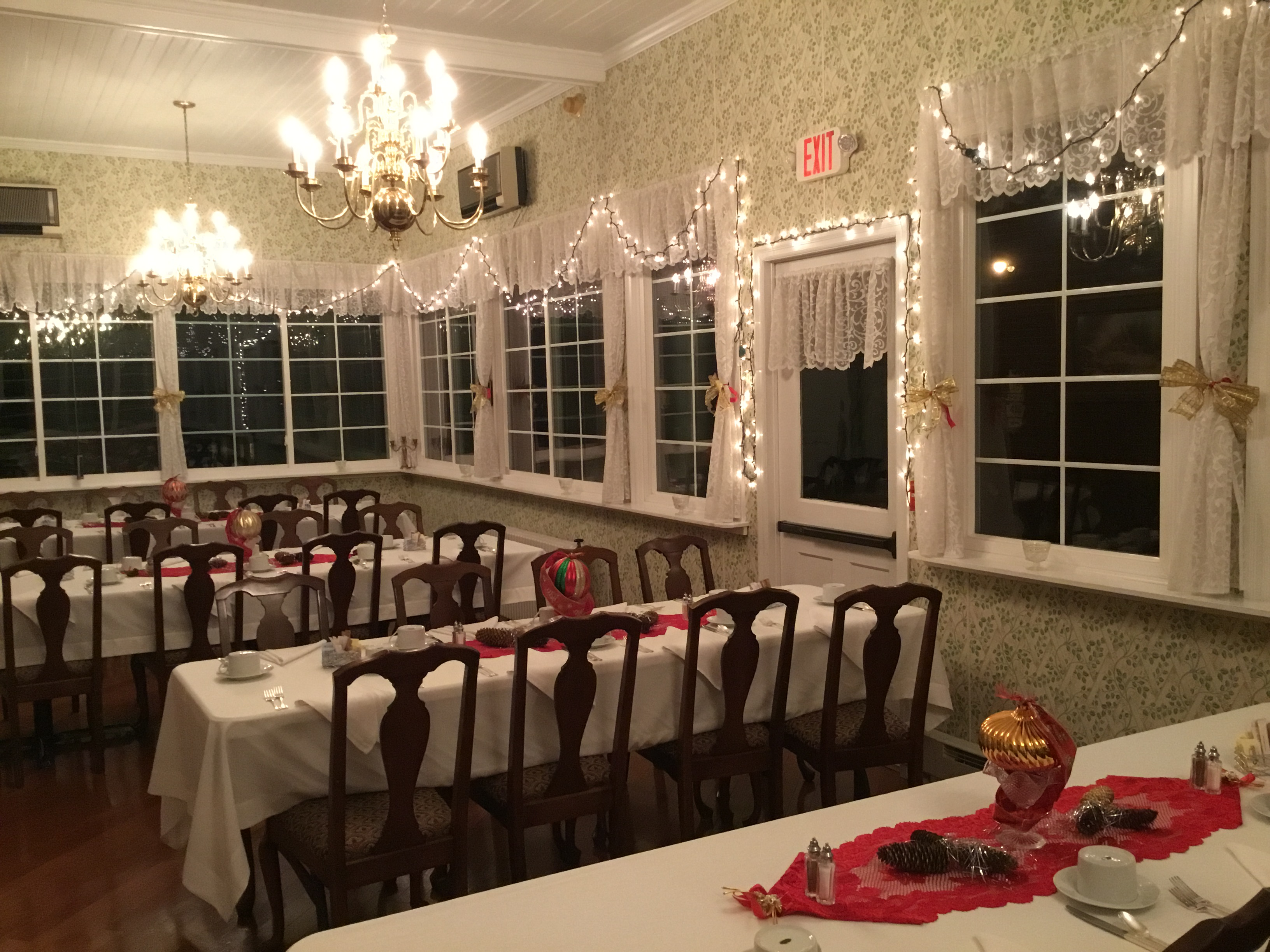 The porch dining room with Christmas decorations