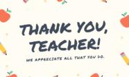 Beige School Teacher Thank You Card