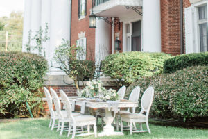 Beautiful table setting on the lawn