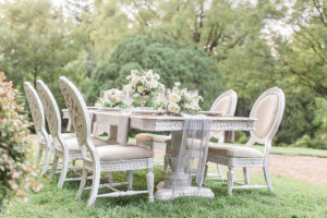 Lovely outdoor table setting on the lawn