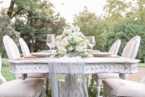 Beautiful table setting on the lawn a our PA wedding venue