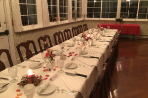 Indoor table setting at our Pennsylvania B&B