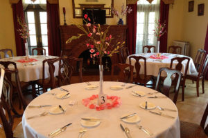 Round table setting for a wedding in PA