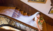Beautiful bride on the staircase of our PA bed and breakfast