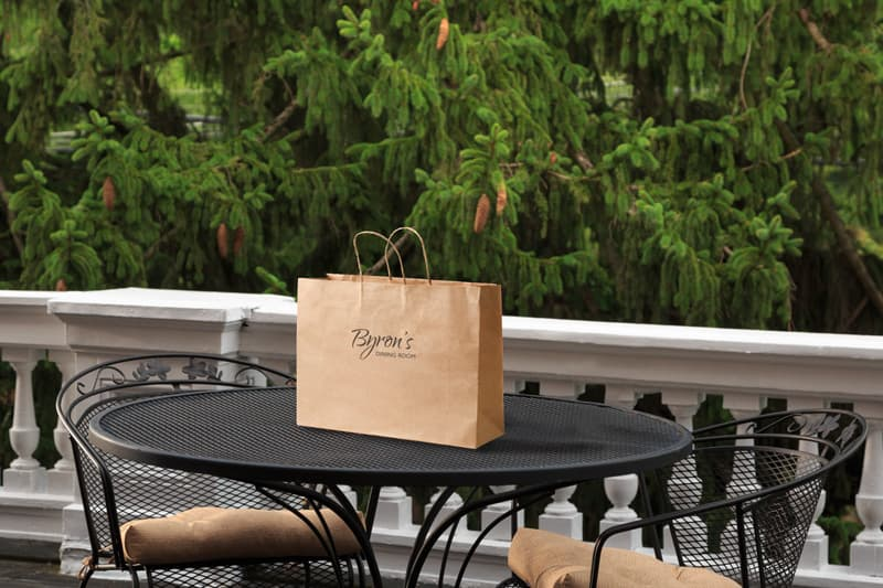 Craft paper bag on table at Mercersburg Inn