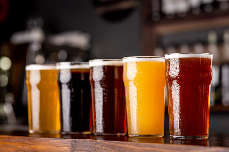 glasses of various types of craft beer