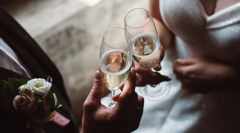 Pennsylvania wedding champagne toast