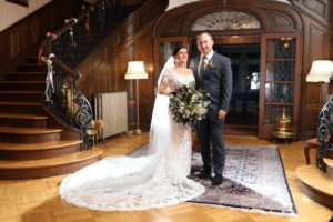A wedding couple at the lobby area