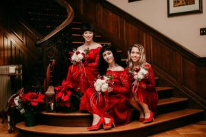 3 bridesmaids on the staircase
