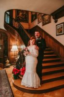 A wedding couple on the staircase