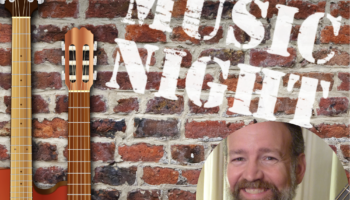 Two guitars and the guitarist for Music Night