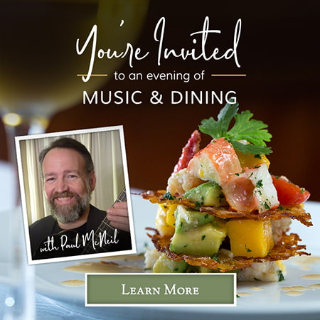 "Graphic that says ""You're Invited to an evening of music & dining with Paul McNeil - Learn More"""