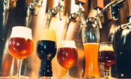 Various kinds of craft beer on a table